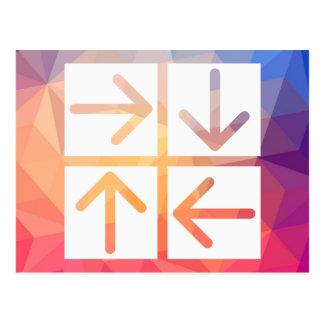 Pictograma de cuatro flechas tarjetas postales
