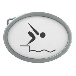 Pictograma de la natación hebillas de cinturon ovales