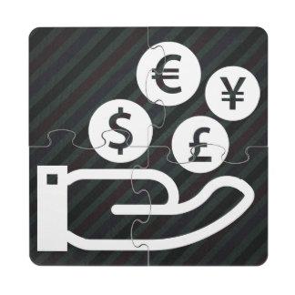 Pictograma de las finanzas posavasos de puzzle