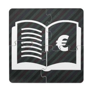 Pictograma de las monedas de la economía posavasos de puzzle