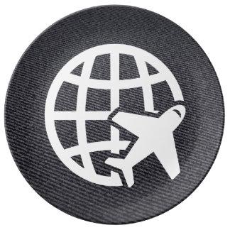 Pictograma de los aeropuertos de la tierra plato de cerámica