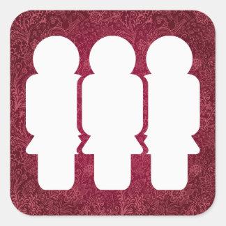 Pictograma de los grupos de los chicas pegatina cuadrada