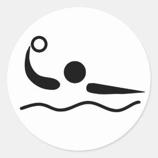 Pictograma de Waterpolo del water polo Pegatina Redonda