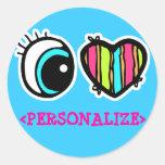 Pictograma del corazón del ojo, <PERSONALIZE> Etiquetas Redondas