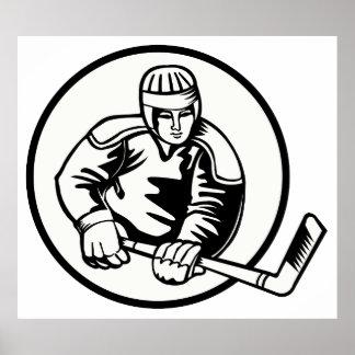 Pictograma del hockey sobre hielo póster