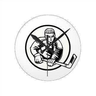 Pictograma del hockey sobre hielo reloj redondo mediano