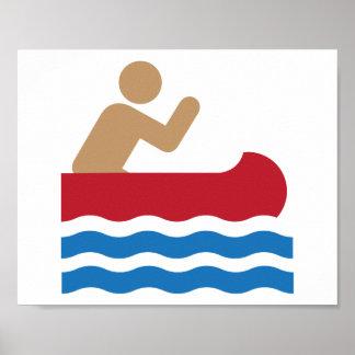 Pictograma del icono de la canoa en color póster