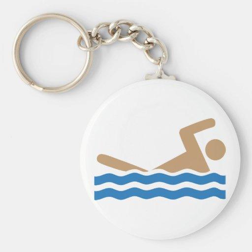 Pictograma del icono de la natación en color llavero
