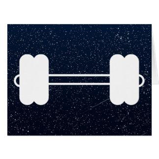 Pictograma negro de las pesas de gimnasia tarjeta de felicitación grande