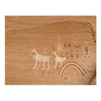 Pictogramas en las paredes de barranco de la postales