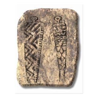 Pictograph men-stone postcard