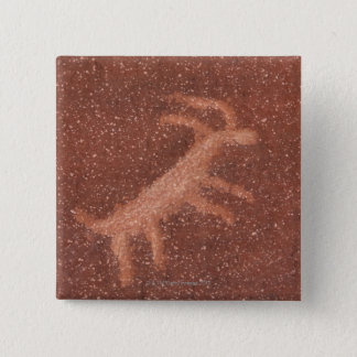Pictograph of antelope on red sandstone wall, pinback button