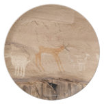 Pictographs of antelope, sheep and goats on melamine plate