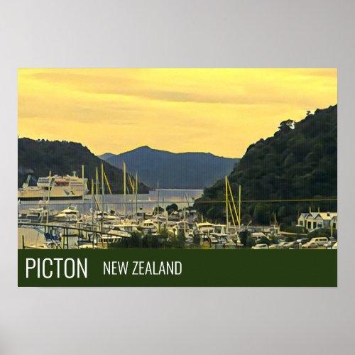 Picton New Zealand Marlborough Sounds travel print