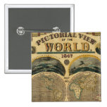 Pictorial View of the World Pinback Button