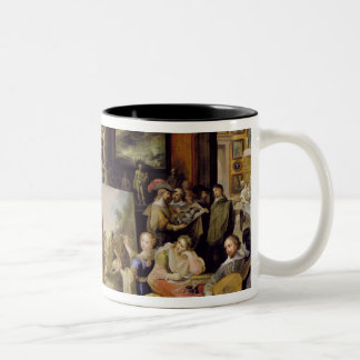 Pictura, Poesis and Musica in a Pronkkamer Two-Tone Coffee Mug