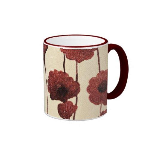 Pictural Red Flower Mug