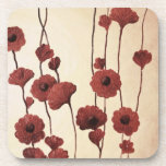Pictural Red Flowers Beverage Coaster