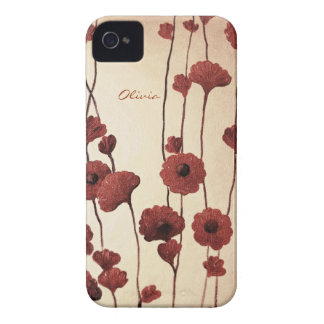 Pictural Red Flowers iPhone 4 Case-Mate Cases