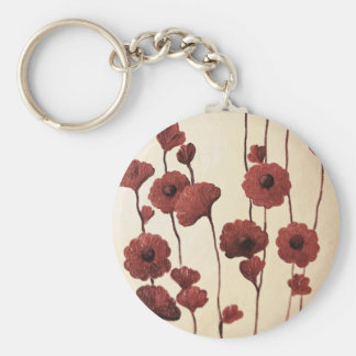 Pictural Red Flowers Keychains