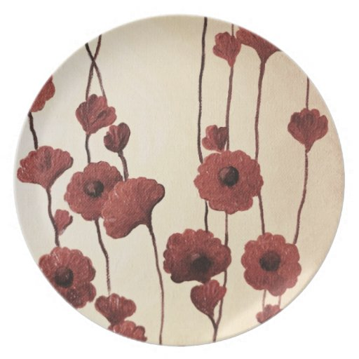 Pictural Red Flowers Party Plates