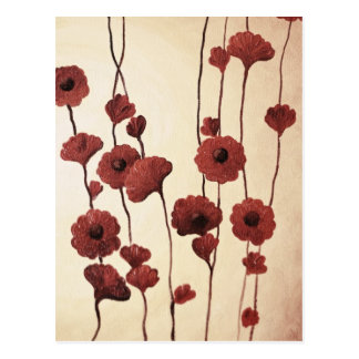 Pictural Red Flowers Post Card