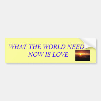 Picture 004, WHAT THE WORLD NEEDS NOW IS LOVE Car Bumper Sticker