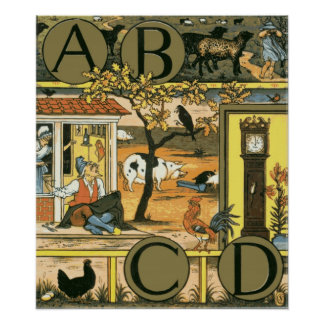 Picture Alphabet ABCD Poster