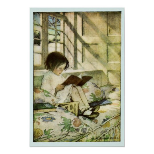 Picture Books in Winter Blue Border Poster