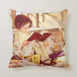 Picture Books in Winter Throw Pillow