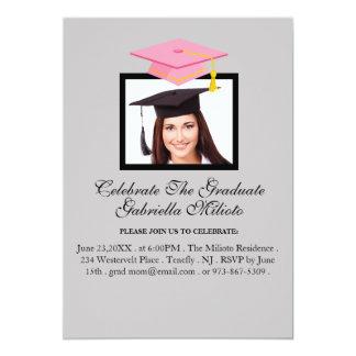 Picture Celebrate The Graduate Pink Cap Invite
