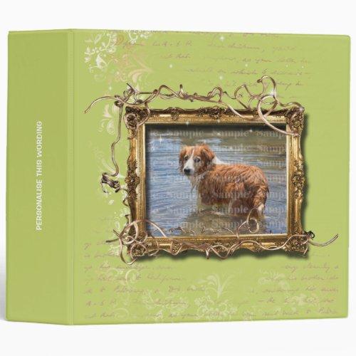 Picture frame floral vintage pet memorial  green 3 ring binder