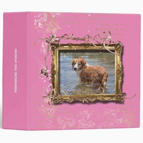 Picture frame floral vintage pet memorial  Pink 3 Ring Binder
