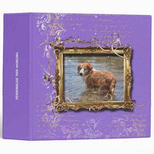 Picture frame floral vintage pet memorial  Purple 3 Ring Binder