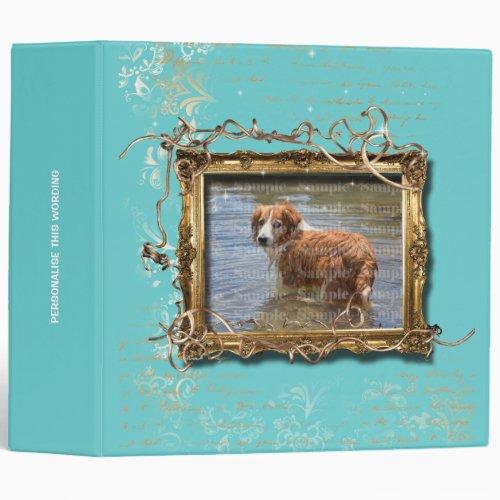 Picture frame floral vintage pet memorial  Teal 3 Ring Binder