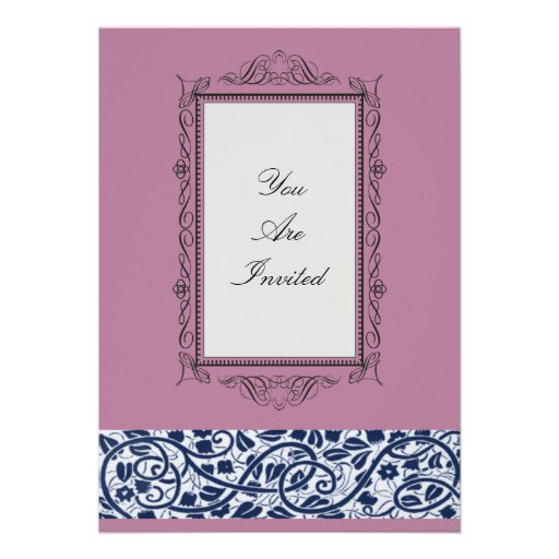 pink wedding invitations with a vintage picture frame design easily