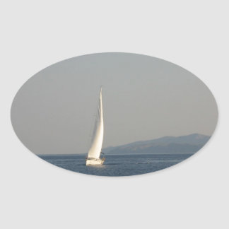 Picture , image Yacht at sea  T-shirts cups, therm Oval Sticker