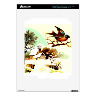 Picture of a bird sitting on a branch with a snow iPad 3 skin