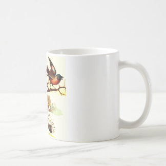 Picture of a bird sitting on a branch with a snow mugs