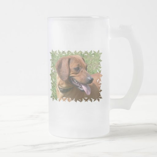 Picture of a Dachshund Dog  Frosted Beer Mug