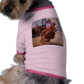 Picture Of A Horse And A Cowgirl Pet T-shirt
