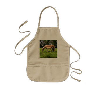 Picture Of A Horse And Her Foal Grazing Kids' Apron