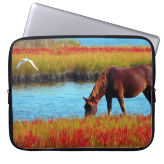 Picture Of A Horse Grazing Near A River Computer Sleeve