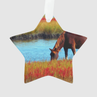 Picture Of A Horse Grazing Near A River Ornament