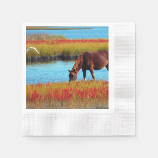 Picture Of A Horse Grazing Near A River Coined Cocktail Napkin