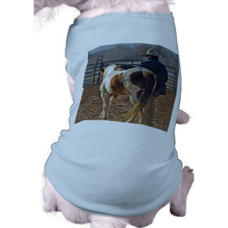 Picture Of A Horse Walking With A Cowboy Pet Tshirt