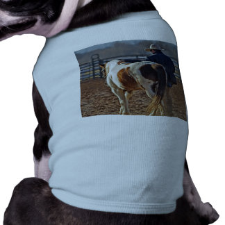 Picture Of A Horse Walking With A Cowboy Doggie T Shirt