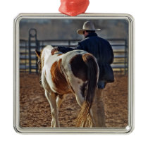 Picture Of A Horse Walking With A Cowboy Metal Ornament