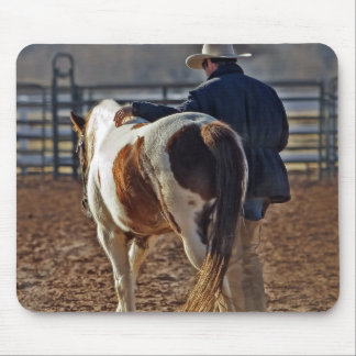 Picture Of A Horse Walking With A Cowboy Mouse Pad
