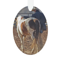Picture Of A Horse Walking With A Cowboy Ornament